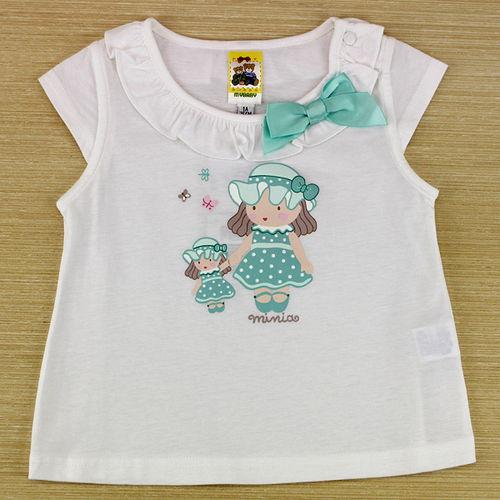 【愛的世界】MYBABY 蝶舞系列荷葉圓領半袖純棉上衣-白色/4~8歲-台灣製-