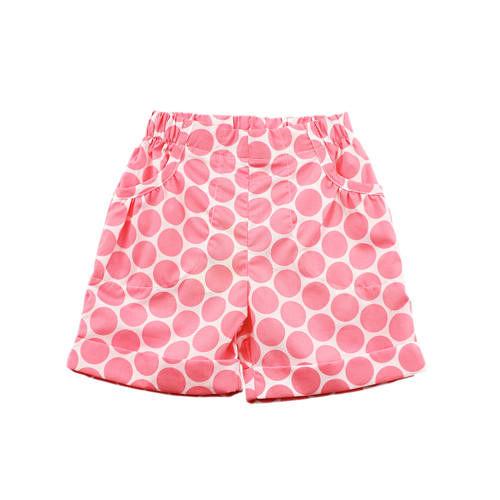 【愛的世界】MYBABY蝶舞系列純棉粉紅點點五分褲/1~3歲-台灣製-