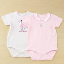 【愛的世界】LOVEWORLD 小花兔系列短袖連身衣2件包/3個月~1歲-台灣製-