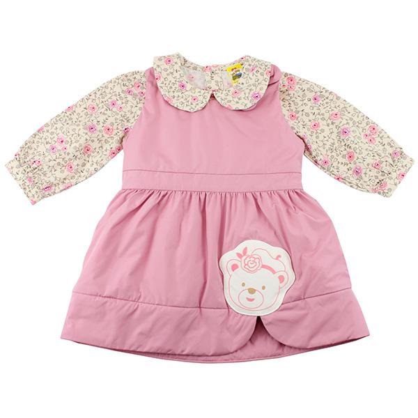 【愛的世界】MYBABY 小熊甜心系列鋪棉背心裙套裝/2~6歲-台灣製-