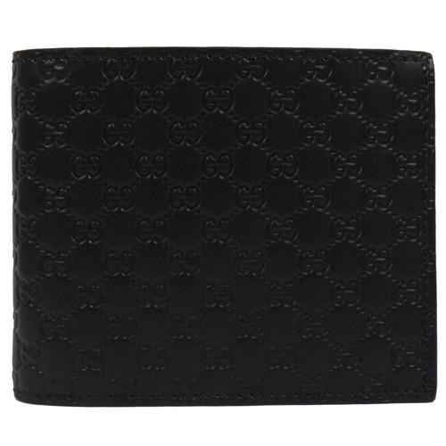GUCCI 經典小雙G全皮革壓紋雙折短夾.黑