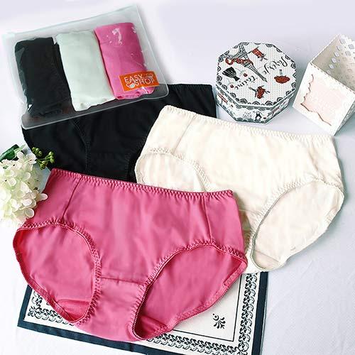 【EASY SHOP】樂旅行 中低腰平口褲三件組(繽紛色)