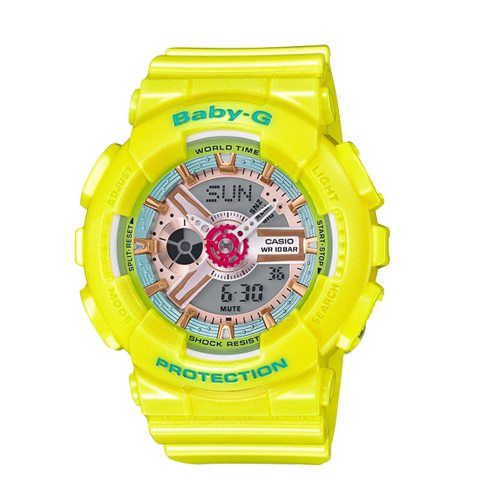 CASIO 卡西歐 BABY-G 日本版珠光亮黃色時尚亮彩雙顯運動女錶 BA-110CA-9AJF