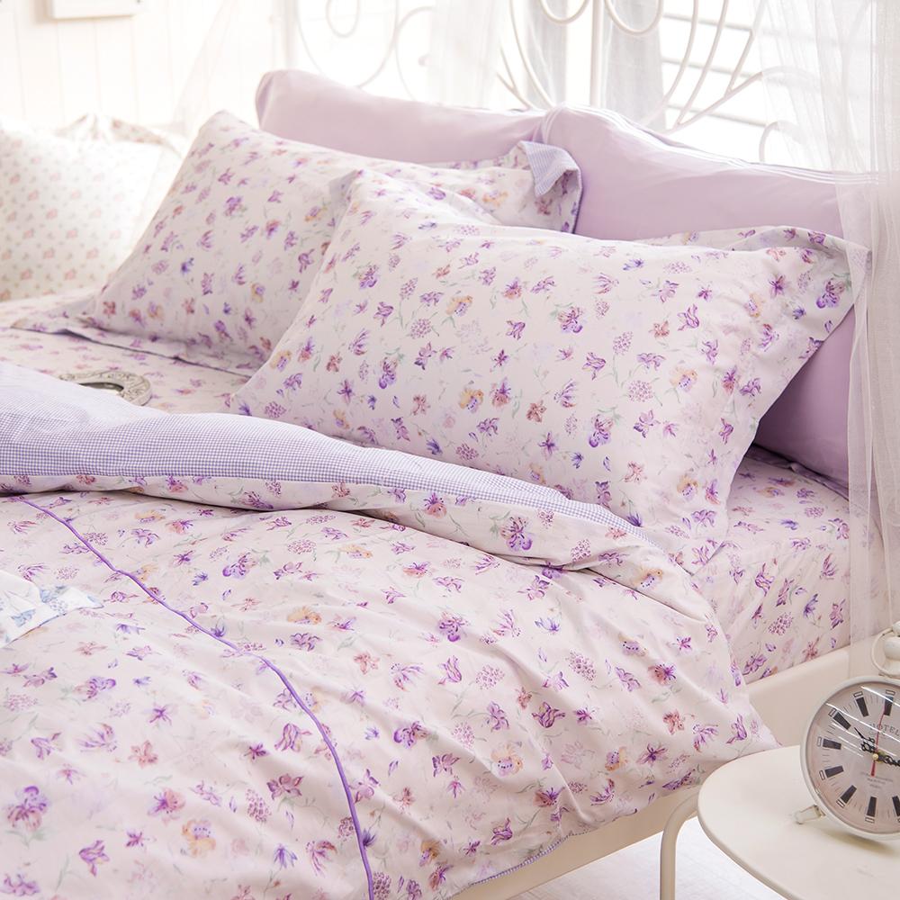 OLIVIA 《蘇菲雅 紫》 加大雙人床包被套四件組 歐式枕套