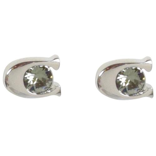 COACH 時尚配件C LOGO鑲鑽耳環.銀 F54498