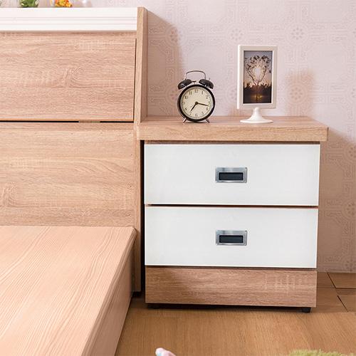 【ABOSS】艾迪梧桐+白木心板二抽耐磨床頭櫃(#61-14)