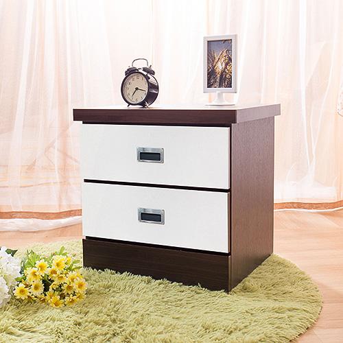 【ABOSS】艾迪胡桃+白木心板二抽耐磨床頭櫃(#61-12)