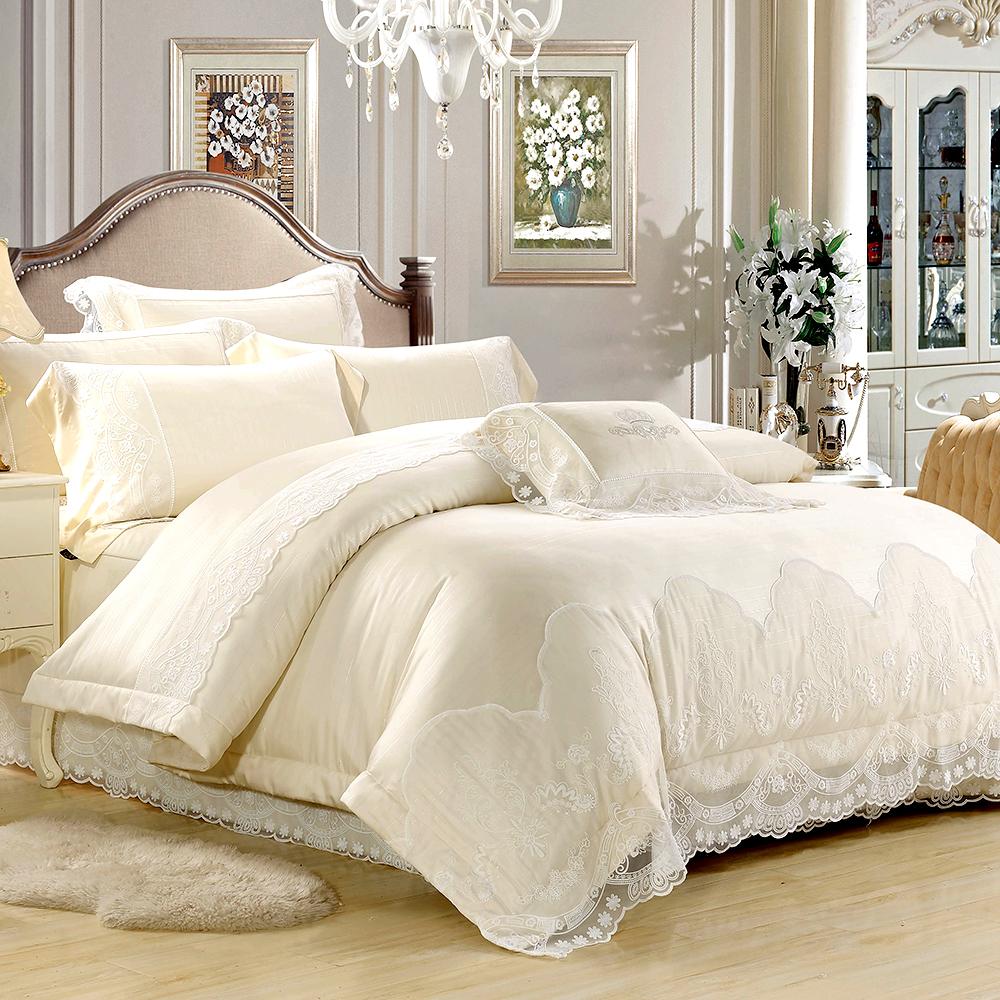 Lily Royal-60支頂級天絲銀纖維 雙人八件式兩用被床罩組-淺松白