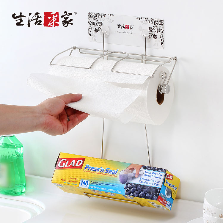 【生活采家】樂貼系列台灣製304不鏽鋼廚房加大款捲筒紙巾架保鮮膜架#27253