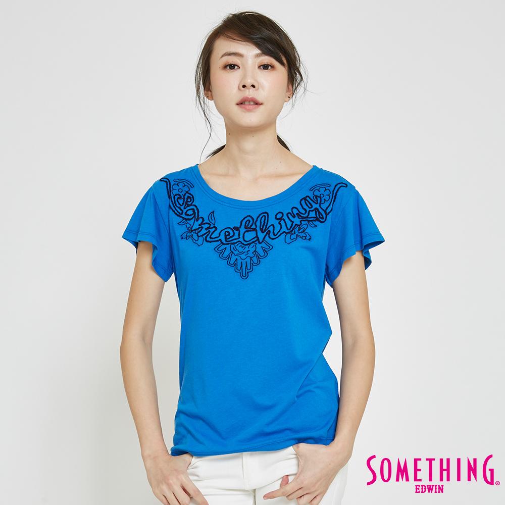 SOMETHING 繩股繡船圓領T恤-女-藍色