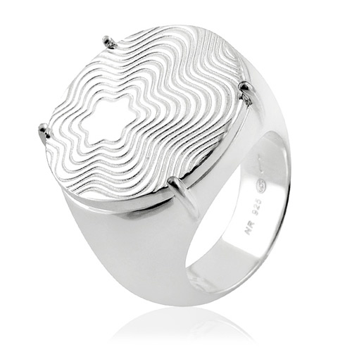 MONT BLANC 萬寶龍 六角星圓形寬版純銀戒指【50/52/54號】