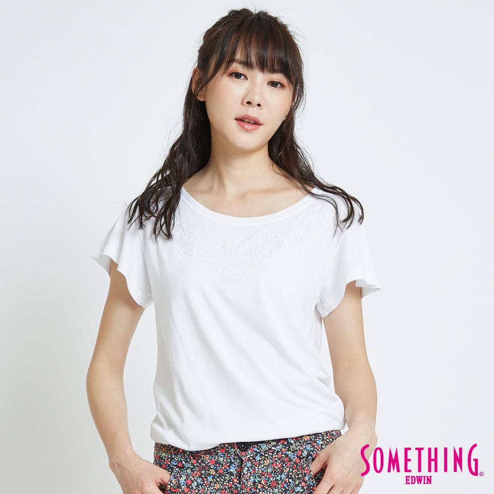 SOMETHING 繩股繡船圓領T恤-女-白色