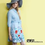 【克萊亞KERAIA】艷彩繡花洋裝式外罩