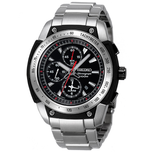 SEIKO 三眼計時極限奔馳賽車腕錶(銀)