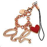 agnes b.ab heart logo 愛心手機吊飾 玫瑰金
