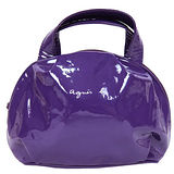 agnes b亮面軟皮小手提包 紫