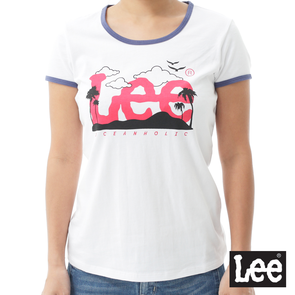 Lee 紅色LOGO短袖圓領TEE-女款-白