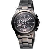 agnes b. 魔幻精靈三眼計時手錶-IP黑/38mm 7T92-0HV0SD(BF8305P1)
