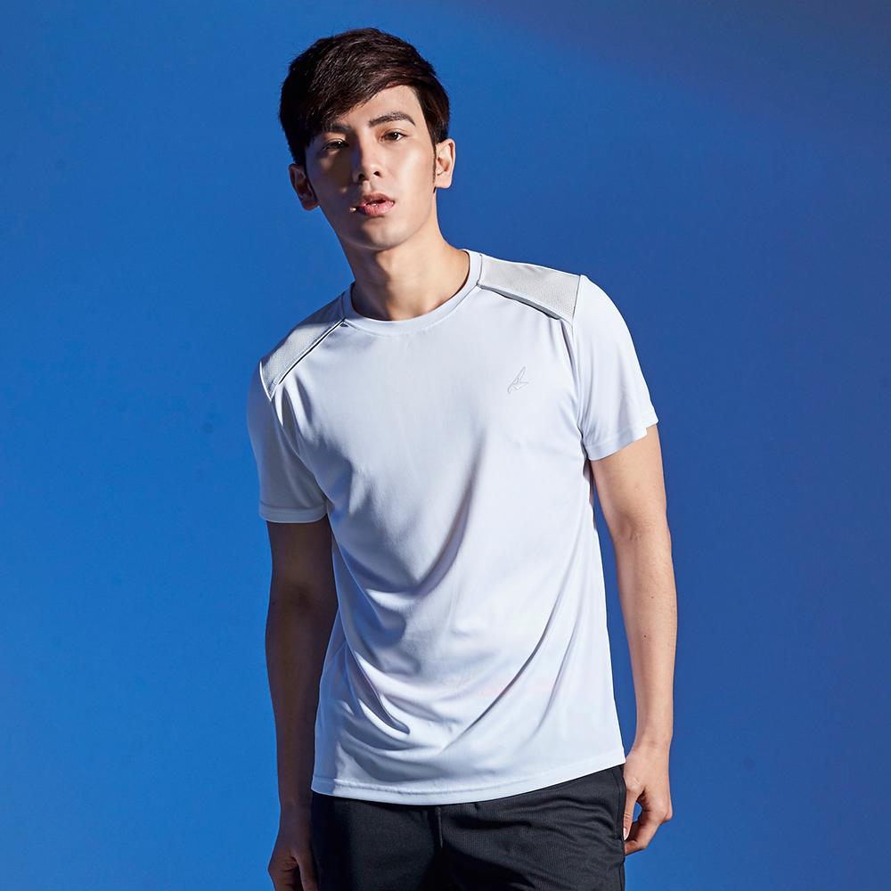 【AIRWALK】反光條設計吸排圓領T恤(男)-白色