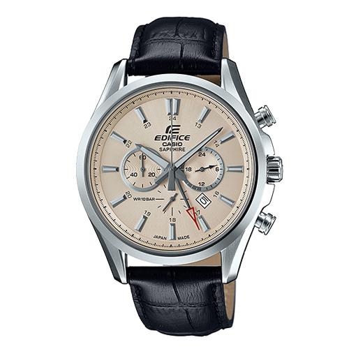 CASIO 卡西歐 EDIFICE 經典紳士錶款_三眼計時皮革男錶 EFB-504JL-7A