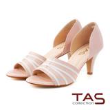 TAS 不規則條紋側鏤空魚口高跟鞋-優雅粉