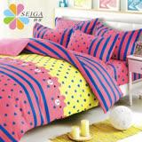 飾家《愛心滿滿》頂級雙人活性絲柔棉四件式兩用被床罩組台灣製