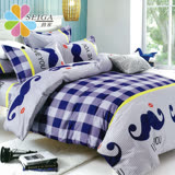 飾家《大鬍子先生》頂級雙人活性絲柔棉四件式兩用被床罩組台灣製