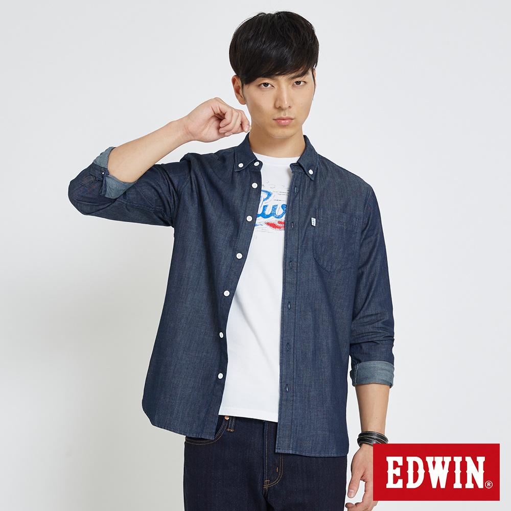EDWIN 單邊口袋基本襯衫-男-拔洗藍
