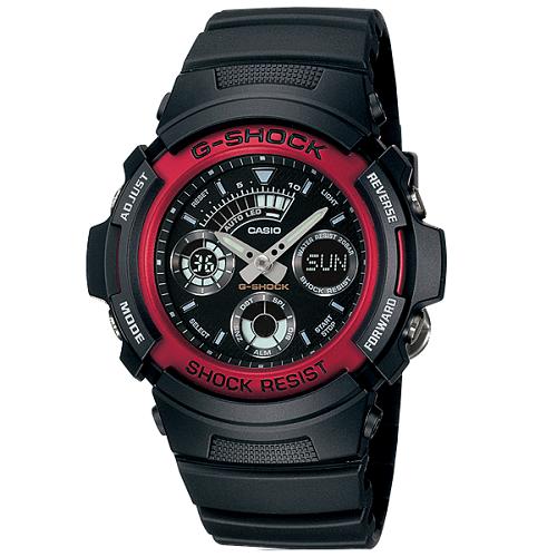 CASIO 卡西歐 G-SHOCK 黑色離子鍍加工經典多功能雙顯男錶 AW-591BB-1ADR