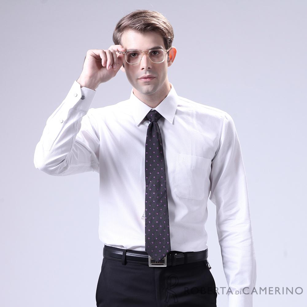 ROBERTA諾貝達 進口素材 台灣製 經典格紋長袖襯衫 白色
