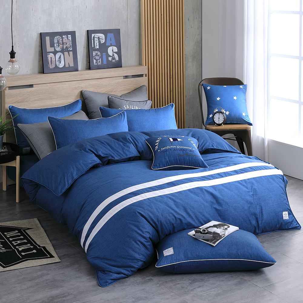 OLIVIA 《 SMITH 丹寧藍 》 雙人床包枕套三件組 設計師風格系列