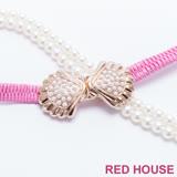 Red House 蕾赫斯-珍珠蝴蝶結伸縮皮帶(粉色)