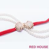 Red House 蕾赫斯-珍珠蝴蝶結伸縮皮帶(紅色)