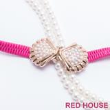 Red House 蕾赫斯-珍珠蝴蝶結伸縮皮帶(桃紅色)