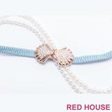 Red House 蕾赫斯-珍珠蝴蝶結伸縮皮帶(淺藍色)