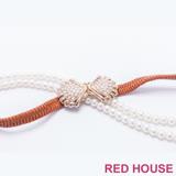 Red House 蕾赫斯-珍珠蝴蝶結伸縮皮帶(咖啡色)