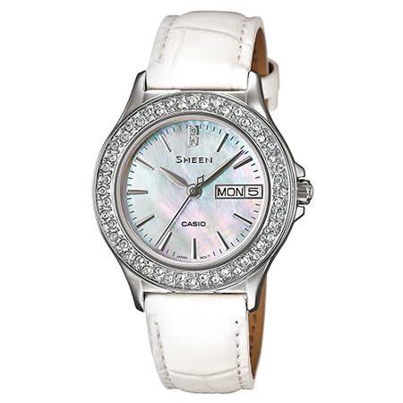 CASIO 卡西歐 SHEEN 施華洛世奇氣質典雅皮錶帶女錶 SHE-4800L-7A