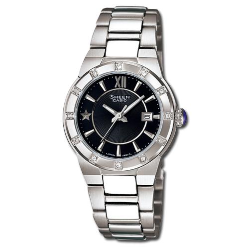 CASIO 卡西歐 SHEEN 藍寶石鏡面-星星點綴精緻氣質女錶 SHE-4500D-1ADR