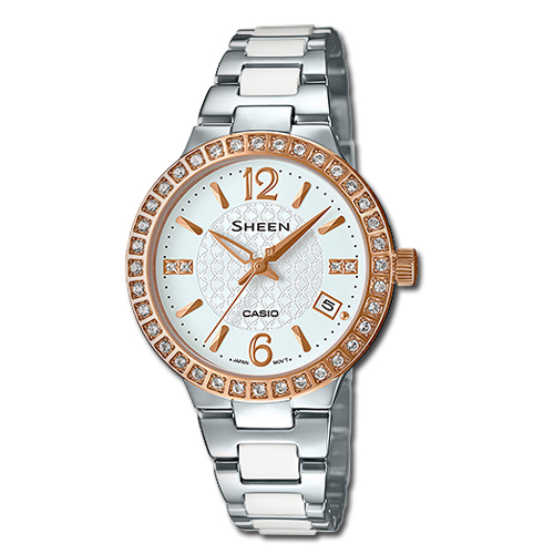 CASIO 卡西歐 SHEEN 施華洛世奇水晶不鏽鋼女錶 SHE-4049SG-7A