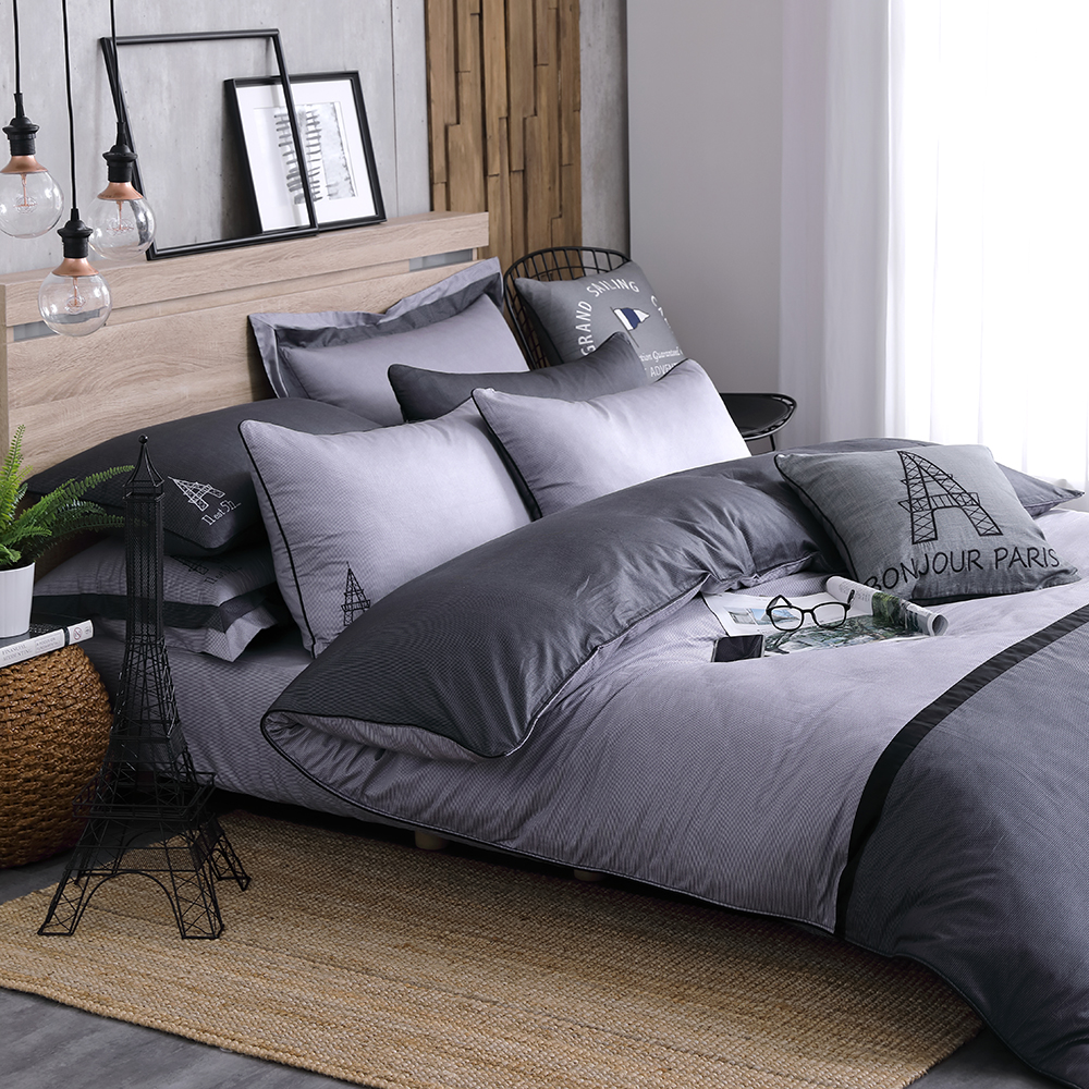OLIVIA 《 BROADEN 》 特大雙人床包枕套三件組 設計師原創系列 工業風格