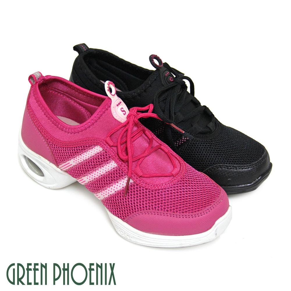 【GREEN PHOENIX】邊條彈性萊卡綁帶透氣網布輕量氣墊排舞鞋