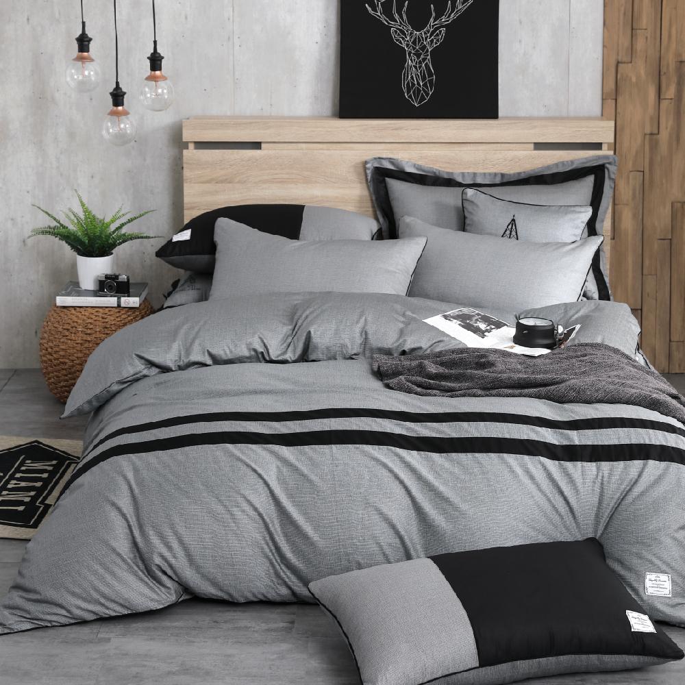 OLIVIA 《  SMITH 灰黑 》 單人兩用被套床包三件組 設計師原創系列
