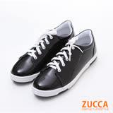 ZUCCA【z6128bk】 純色亮面皮革休閒鞋-黑色