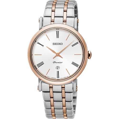 SEIKO 精工 Premier 系列超薄石英女錶-銀x雙色/ 30mm 7N89-0AY0G(SXB430J1)