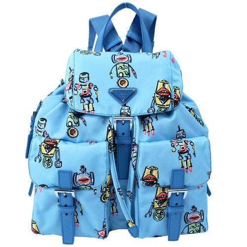 PRADA 機器人印花雙口袋翻蓋後背包(水藍)