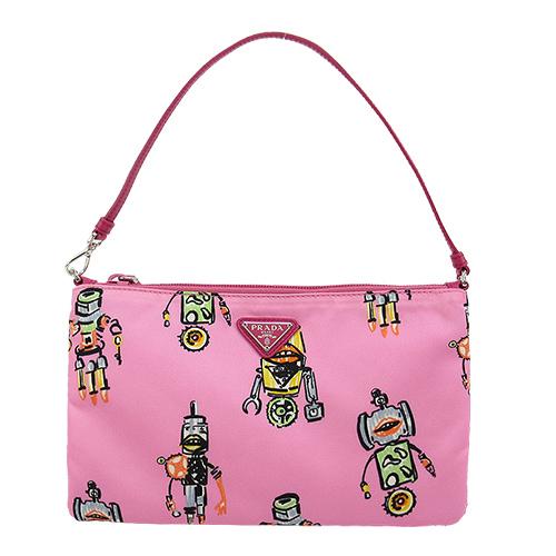 PRADA 機器人印花尼龍小手提包(粉紅)
