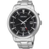 SEIKO Kinetic 雙時區簡約時尚手錶-黑/44mm 5M85-0AC0D(SUN033P1)