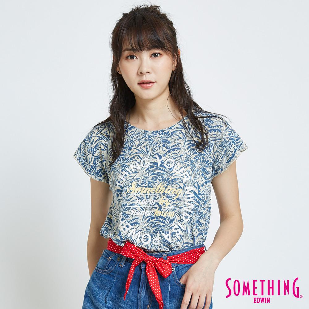 SOMETHING 葉片花卉圓領T恤-女-藍色