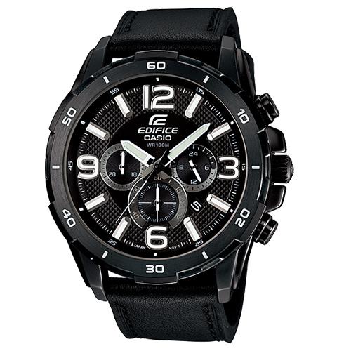 CASIO 卡西歐 EDIFICE 碼錶計時皮錶帶飛行男錶 EFR-538L-1A