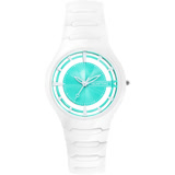 RELAX TIME RT57 優雅鏤空陶瓷手錶-蒂芬妮綠x白/37mm RT-57-8
